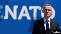 NATO Secretary-General Jens Stoltenberg at the start of NATO summit in Brussels on May 25, 2017