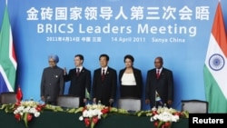 BRICS leaders at a summit in China last April