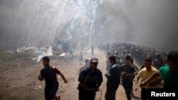 Газа сектору менен Израилдин чек арасындагы көрүнүш. 14-май, 2018-жыл.