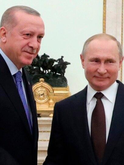 Turski predsednik Recep Tayyip Erdogan (Redžep Tajip Erdoan) i ruski predsednik Vladimir Putin, tokom njihovog sastanka u Kremlju u Moskvi, 5. marta 2020. godine