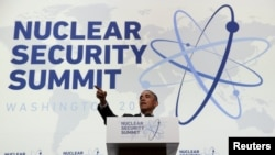 U.S. President Barack Obama fields a question during a press conference at the conclusion of the Nuclear Security Summit in Washington on April 1.