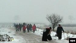 Migrantët duke e kaluar kufirin Serbi - Maqedoni