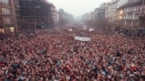 Approximately 200,000 people gather on Wenceslas Square to take part in one of the biggest protest rally in recent times in Prague, Czechoslovakia, Monday, Nov. 20, 1989.