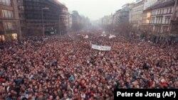 Маніфэстацыя на Вацлаўскай плошчы ў Празе, 20 лістапада 1989