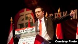 """Лидер """"Йоббика"""" Габор Вона выступает на предвыборном митинге"""