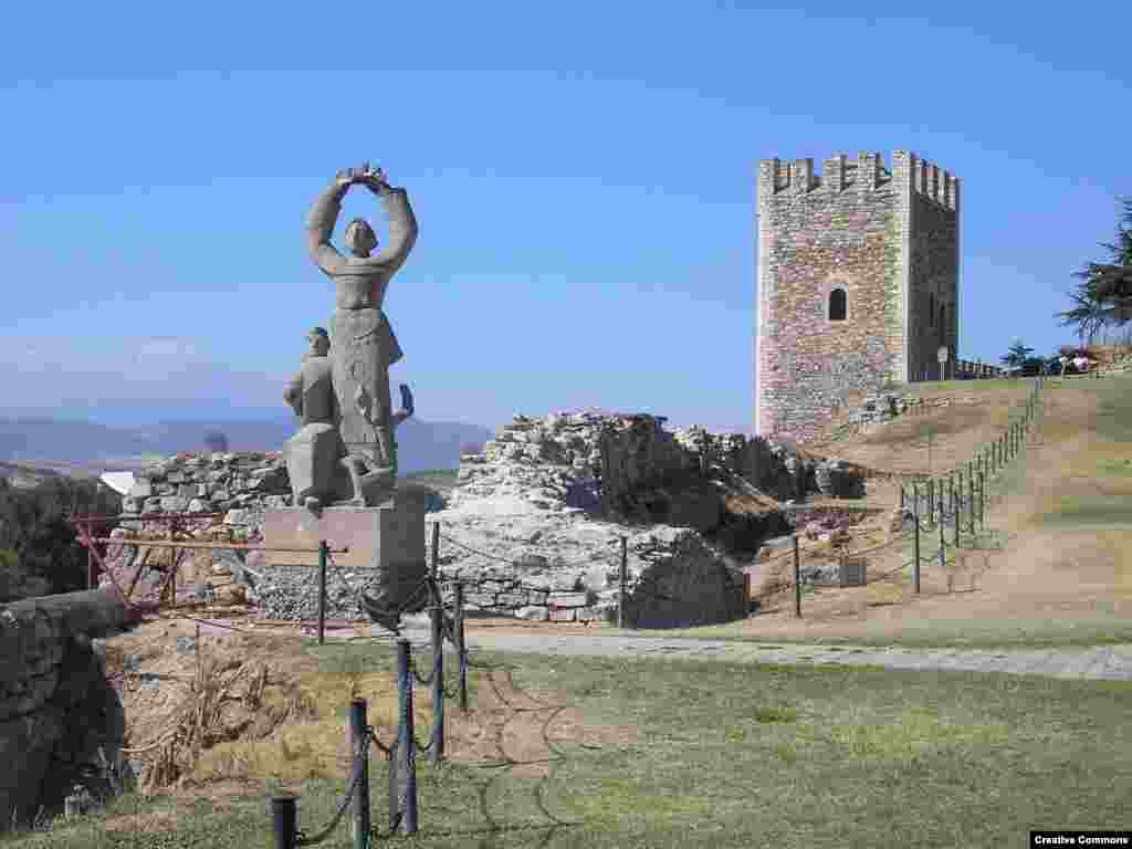 The Strength, Glory and Victory statue at Skopje Fortress