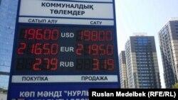 Табло курса валют. Алматы, 19 августа 2015 года.