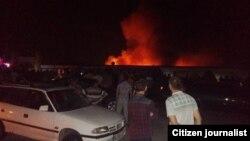 Пожар на рынке «Корвон». Душанбе, 2 июля 2017 года.
