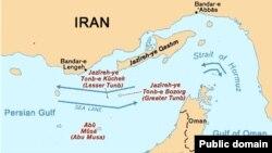 نمایی از موقعیت جزایر سه گانه ابوموسی، تنب بزرگ و تنب کوچک در خلیج فارس