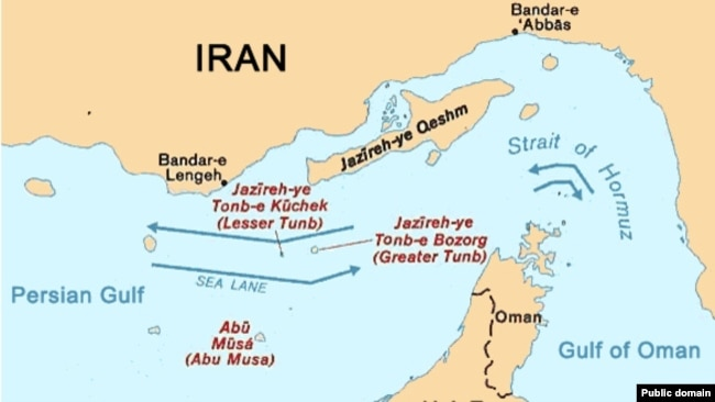 Map of three Iranian islands in Persian Gulf, Abu Musa, Greater Tunb and lesser Tunb