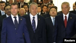 The leaks that bind: Russian President Dmitry Medvedev, left, Kazakh President Nursultan Nazarbayev and Uzbek President Islam Karimov.