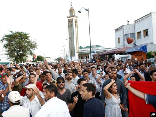 Antigovernment protesters demand constitutional reforms during a rally in Rabat on June 19.