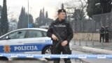 Police block off the area around the U.S. Embassy building in Podgorica after a grenade attack on the facility on February 22.