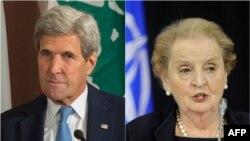 Bivši američki državni sekretari John Kerry i Madeleine Albright