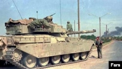 One of the Chieftain tanks delivered to Iran before the 1979 revolution during the Iran-Iraq war. Undated. File photo