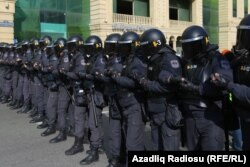 Riot police gathered ahead of the protest.