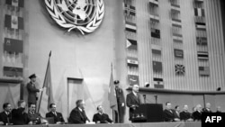 French Foreign Minister Robert Schuman speaks before the UN Assembly ahead of its 1948 passage of the Universal Declaration of Human Rights.