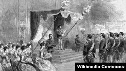 Жапон императору Мэйдзи тарабынан жаңы Башмыйзамдын жарыяланышы. 22.6.1889.