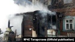 Пожар в Полукамушках, архивное фото