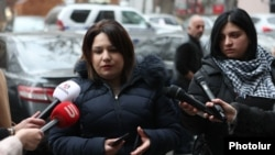 Armenia -- A bereaved mother talks to reporters outside the Office of the Prosecutor-General, Yerevan, January 10, 2020.