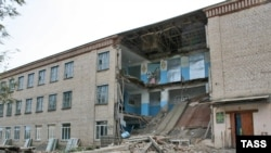 The collapsed section of the school building in Belyayevka in October 2008, which killed teenager Zinira Iskakova.