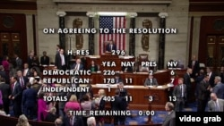 Відеокадр: результат голосування в Палаті представників за резолюцію про геноцид вірмен, Вашингтон, 29 жовтня 2019 року