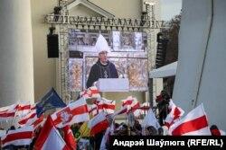 Выступ арцыбіскупа Кандрусевіча падчас разьвітальнай цырымоніі з паўстанцамі