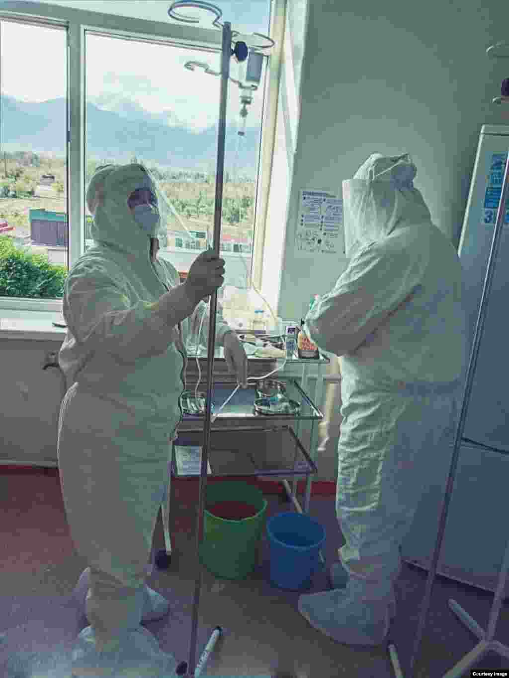 Medical personnel working in Issyk-Kul.