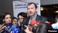 Armenia -- U.S. Ambassador Richard Mills speaks to journalists in Yerevan. 13Sept., 2017
