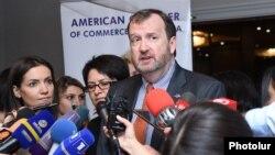 Armenia -- Ambassador Richard Mills speaks to journalists in Yerevan. 13Sept., 2017