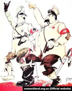 Англійська карикатура 1930-х років: Гітлер і Сталін марширують разом, взуті в один чобіт