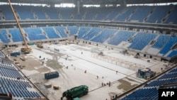 The St. Petersburg stadium during construction