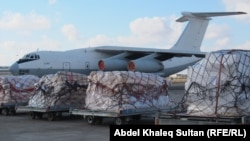 مطار اربيل: احدى طائرات الجسر الجوي الاممي لنقل المساعدات الانسانية الى سوريا