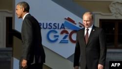 АҚШ президенті Барак Обама мен Ресей президенті Владимир Путин. Санкт-Петербург, 5 қыркүйек 2013 жыл.