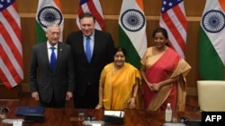 U.S. Secretary of Defense Jim Mattis , U.S. Secretary of State Mike Pompeo with their Indian Counterparts.