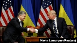 U.S. President Donald Trump (left) meets with his Ukrainian counterpart Petro Poroshenko in New York on September 21.