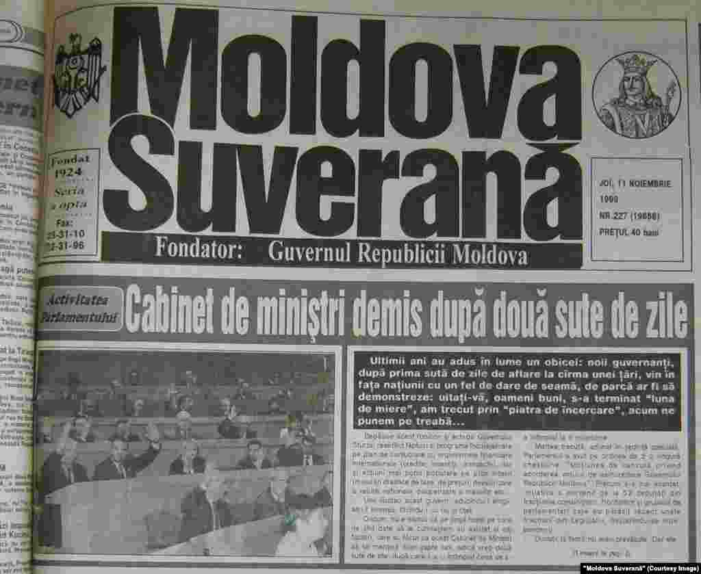 """""""Moldova Suverană"""", 11 noiembrie 1999, demisia Guvernului Sturza"""
