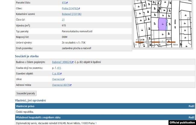 Выписка из реестра недвижимости, подтверждающая, что здание на ул. Овенецка, 39, принадлежит чешскому государству