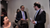 Armenia -- Healthcare Minister Arsen Torosian (C) cuts short his press conference disrupted by his former adviser Gevorg Tamamian (R), September 3, 2019.