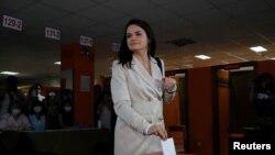 Светлана Тихановская голосует на выборах. Минск, 9 августа 2020 года