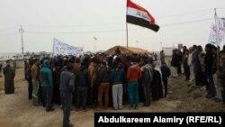 تظاهرة لاهالي ناحية مزيرعة في قضاء القرنة بالبصرة