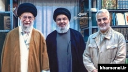 "Supreme Leader Ali Khamenei's website released this ""never seen before"" photo Sept. 25 showing him with Hezbollah leader Hassan Nasrallah. Undated."