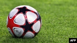 Germany -- The football can be seen ahead of the UEFA Champions League group B football match Vfl Wolfsburg vs PFC CSKA Moskva in the northern German city of Wolfsburg, 15Sep2009