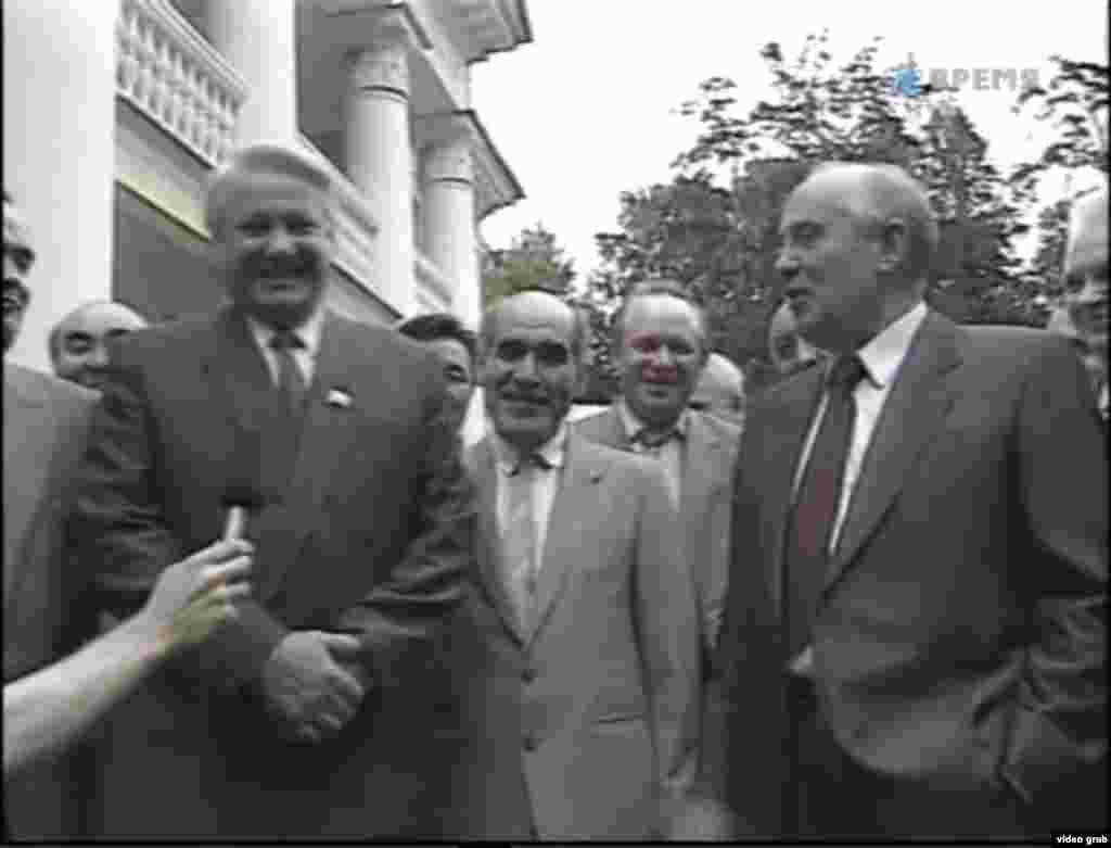 Михаил Горбачев и Борис Ельцин. Москва, 1991 год