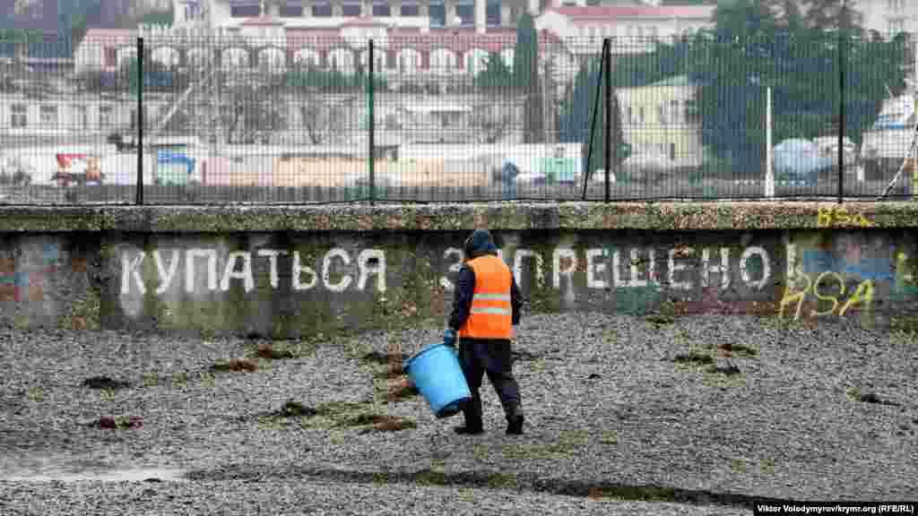 Уборщик собирает водоросли на городском пляже
