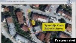 Karta minobacačkih udara u Dobrinji prikazana u sudnici