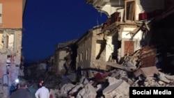 Город Аматриче в Италии после землетрясения