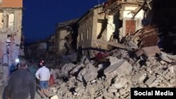 Город Аматриче в Италии после землетрясения.