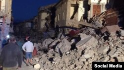 Последствия землетрясения в городе Аматриче в центральной части Италия. 24 августа 2016 года.