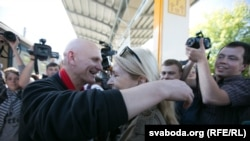 Belarus--Freed prisoner Ales Byalyatski greets friends at a Minsk railway station. June 21, 2014.